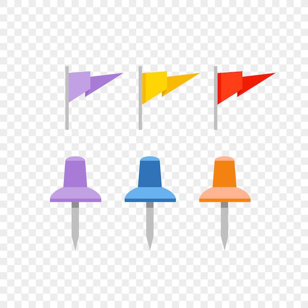 Perni di navigazione e bandiere isolati su sfondo trasparente Vettore Premium