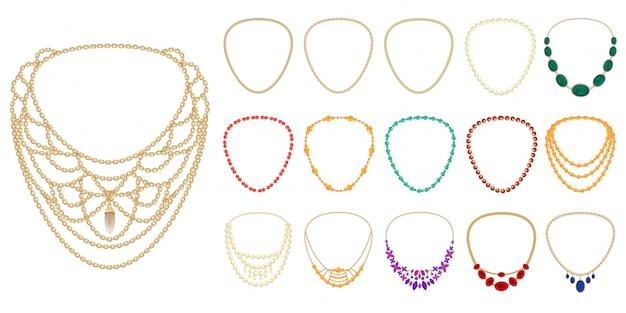 Set di icone di collana Vettore Premium