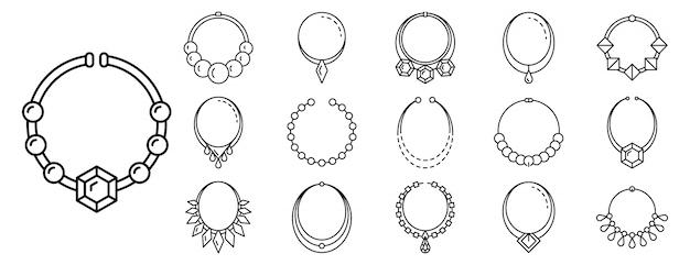 Insieme dell'icona dei gioielli della collana, stile del profilo Vettore Premium