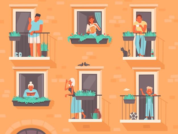 Concetto di vicinato. le persone stanno sui balconi o guardano fuori dalle finestre. i vicini di un condominio Vettore Premium