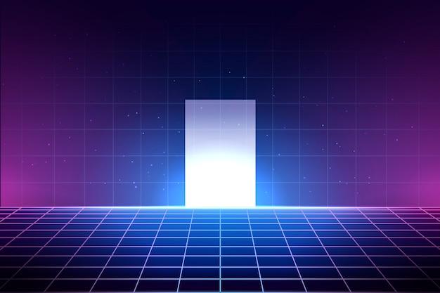 Sfondo al neon in stile anni '80, illustrazione griglia laser con pavimento e porta bianca lucida. interno astratto del club della discoteca con cielo stellato, modello del manifesto per vaporwave, stile di musica del synthwave. Vettore Premium