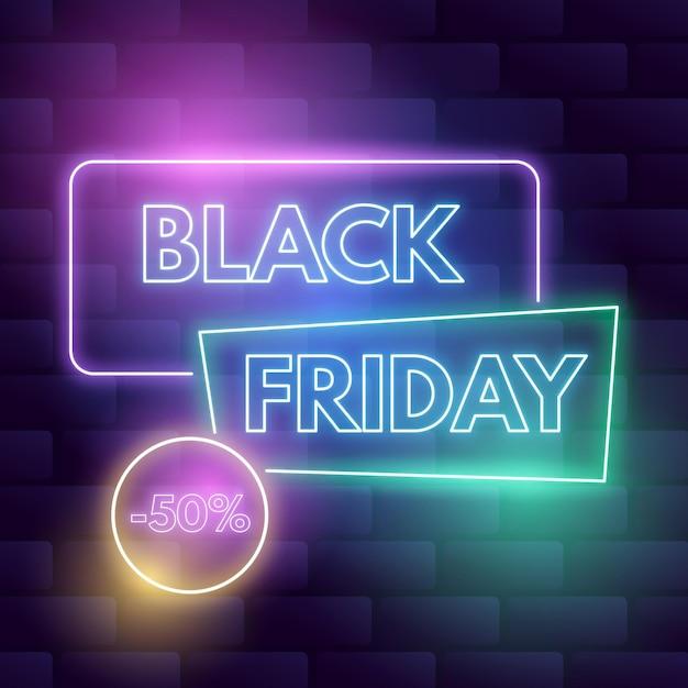 Concetto di venerdì nero al neon Vettore Premium