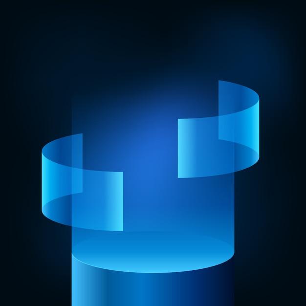 Vetrina del palco del podio con display futuristico moderno al neon blu sfumato per prodotto tecnologico per cyber, ologramma, dati, vr. sfondo scuro bagliore. Vettore Premium