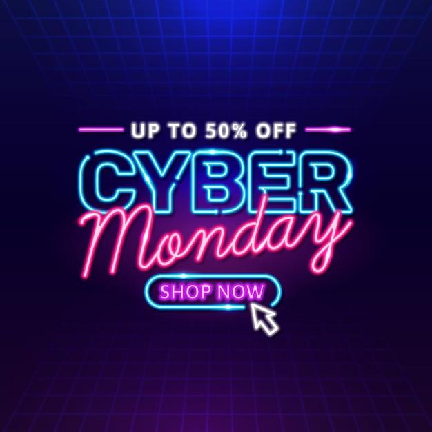 Neon cyber lunedì Vettore Premium