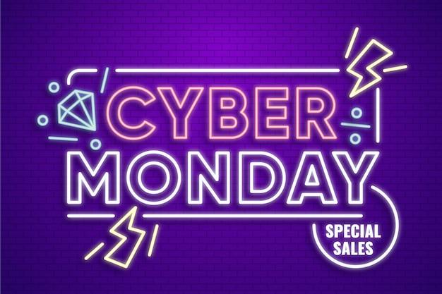 Neon design cyber lunedì Vettore Premium