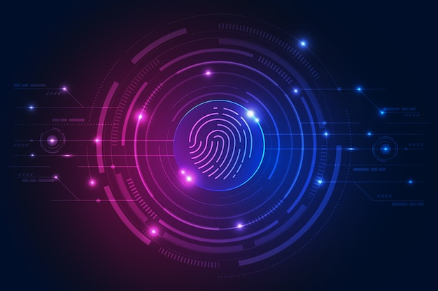 Neon moderno impronta digitale Vettore Premium