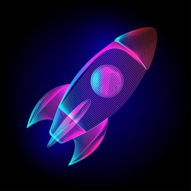 Razzo volante al neon. segno di avvio di attività commerciale. in stile line-art wireframe ultravioletto su uno sfondo scuro Vettore Premium
