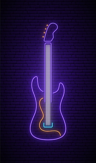 Segno di chitarra al neon. Vettore Premium