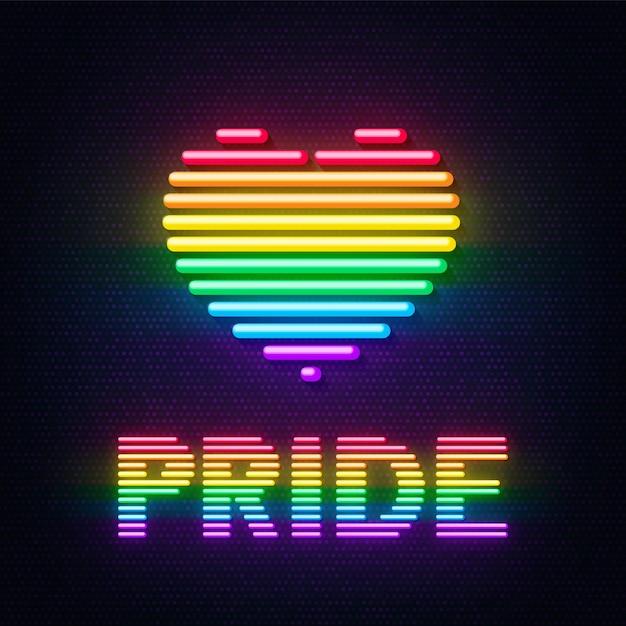 Iscrizione di cuore e orgoglio al neon con i colori della comunità lgbt Vettore Premium