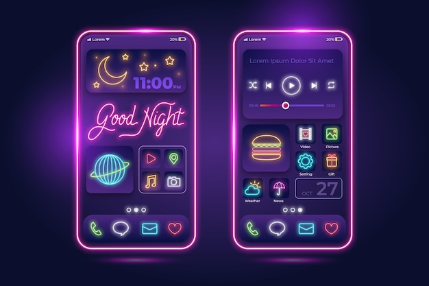 Modello di schermata iniziale al neon per smartphone Vettore Premium