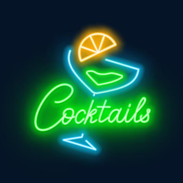 Cocktail e neon dell'iscrizione al neon su fondo nero. Vettore Premium