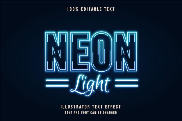 Luce al neon, effetto testo modificabile 3d effetto testo al neon gradazione blu Vettore Premium
