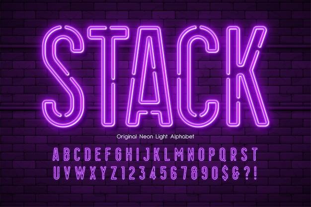 Alfabeto di luce al neon, tipo moderno extra luminoso. Vettore Premium