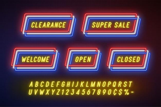 Banner di nastro di promozione lineare al neon, cartellino del prezzo Vettore Premium