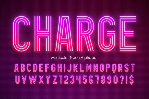 Alfabeto multicolore luce al neon, tipo moderno extra luminoso. Vettore Premium