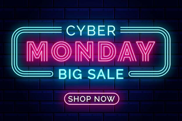 Luci al neon cyber lunedì con cornice alleggerita Vettore Premium