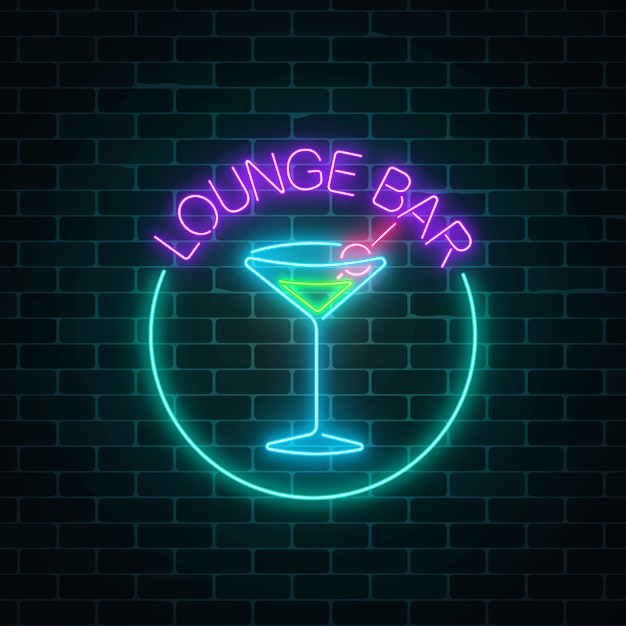 Segno al neon della barra dei cocktail del salotto sul muro di mattoni scuro Vettore Premium