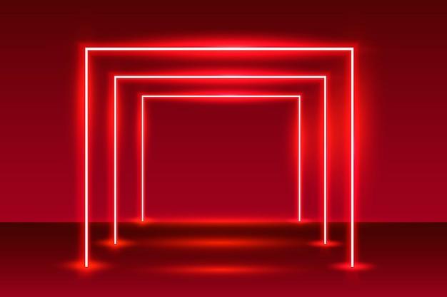 Sfondo rosso podio luce spettacolo al neon. Vettore Premium