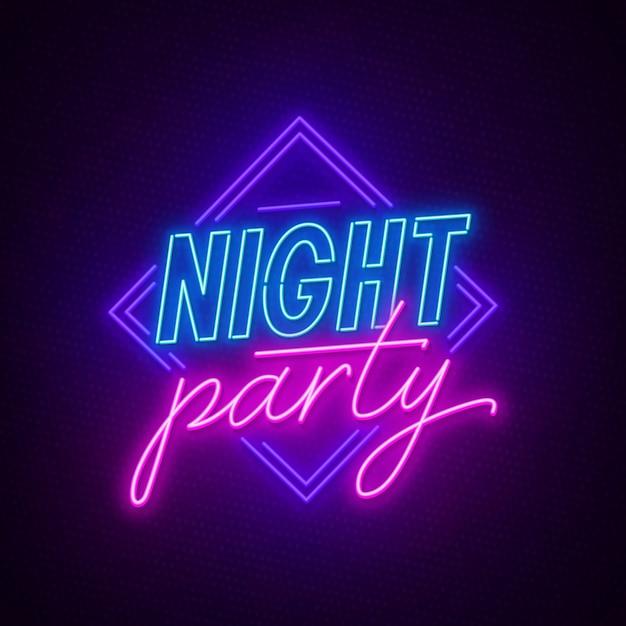 Insegna al neon night party su uno sfondo scuro. Vettore Premium