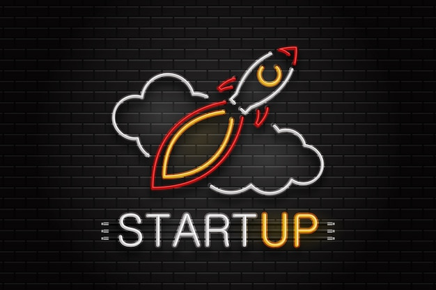 Insegna al neon di rucola e nuvole per la decorazione sullo sfondo della parete. logo al neon realistico per l'avvio. concetto di affari e successo. Vettore Premium