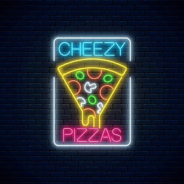 Insegna al neon di una fetta di pizza con formaggio gocciolante. Vettore Premium