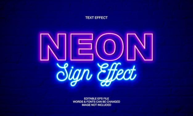 Effetto del testo del segno al neon Vettore Premium