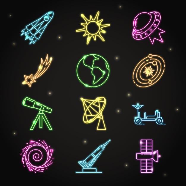 Collezione di icone di spazio al neon Vettore Premium