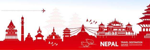Illustrazione della destinazione di viaggio del nepal. Vettore Premium