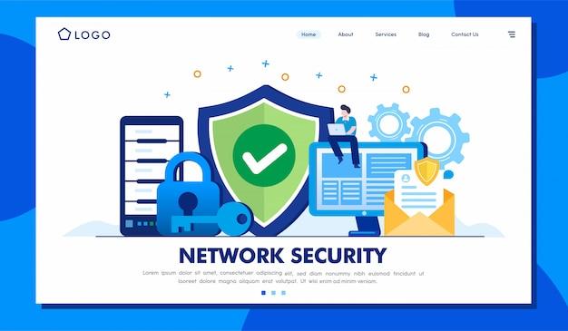 Modello dell'illustrazione della pagina di destinazione di sicurezza della rete Vettore Premium