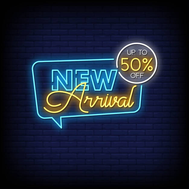 Testo di stile delle insegne al neon di nuovo arrivo Vettore Premium