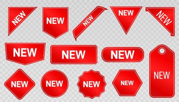Nuovo arrivo. etichette, adesivi e distintivi speciali del prodotto. nuove offerte di raccolta. Vettore Premium