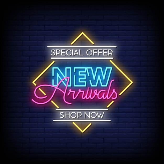 Testo in stile insegne al neon di nuovi arrivi Vettore Premium