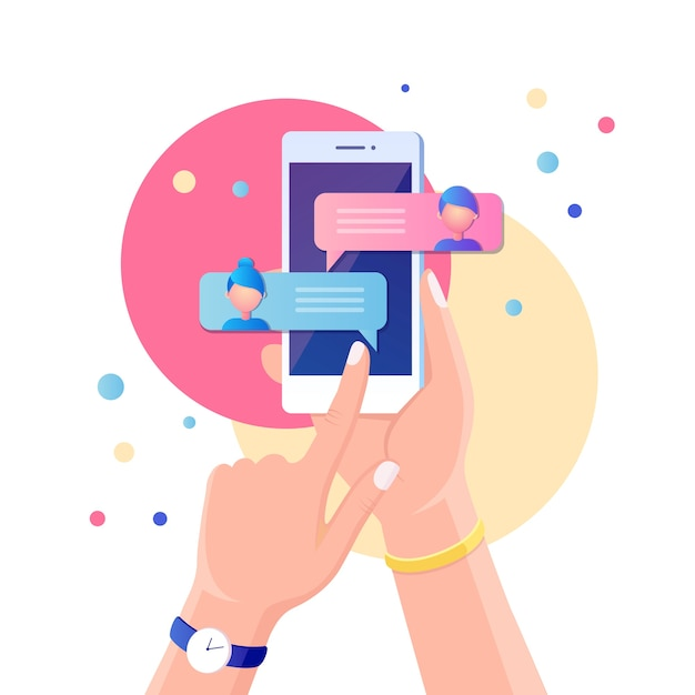 Notifica di nuovi messaggi di chat sul telefono cellulare. bolle di sms sullo schermo del cellulare. persone in chat. Vettore Premium