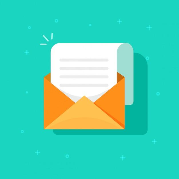 Nuova icona del messaggio di posta elettronica, busta in cartone piatto con posta aperta Vettore Premium
