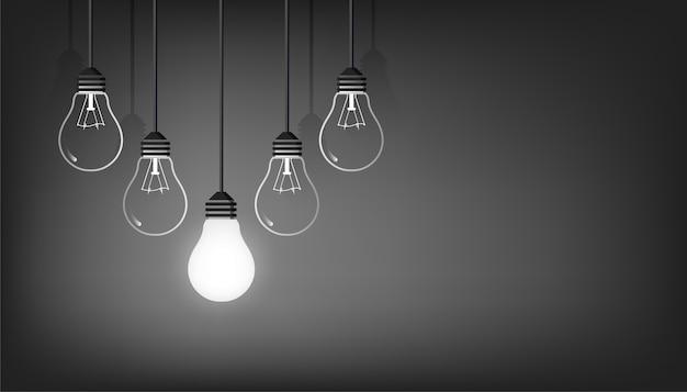 Nuovo sfondo idea con illustrazione di simbolo di lampadine. creatività e potere del concetto di pensiero. Vettore Premium