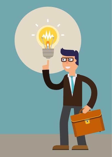 Una nuova idea di uomo d'affari. illustrazione del personaggio dei cartoni animati di vettore Vettore Premium