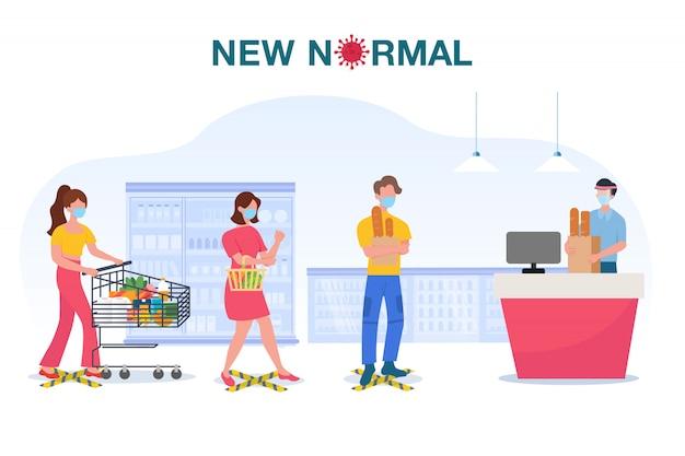 Nuova illustrazione di concetto normale con persone che indossano la maschera per il viso e mantieni la distanza nel supermercato per proteggere l'epidemia di influenza coronavirus Vettore Premium