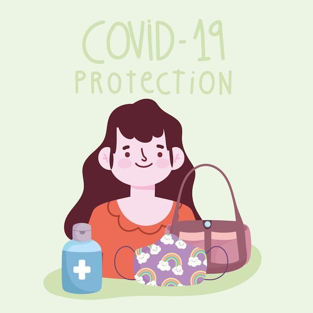 Nuovo stile di vita normale, donna con maschera borsetta e gel disinfettare la bottiglia illustrazione vettoriale Vettore Premium