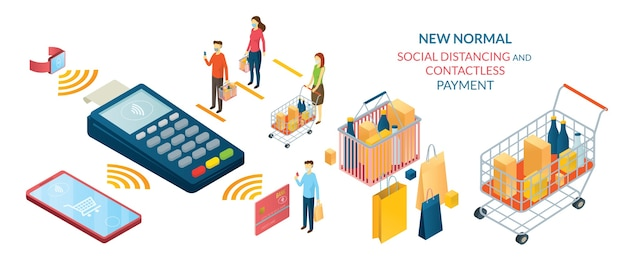 New normal, people in social distancing e contactless payment, shopping in mart e store Vettore Premium