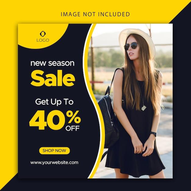 Banner modificabile di vendita di nuova stagione per web e social media Vettore Premium