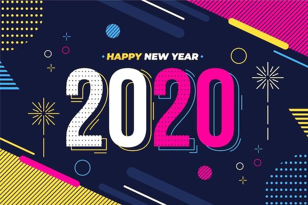 Sfondo del nuovo anno 2020 in design piatto Vettore Premium