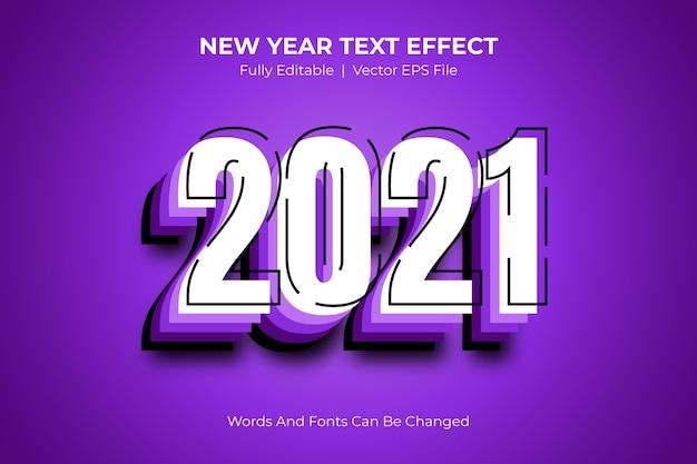 Effetto stile testo modificabile per il nuovo anno 2021 Vettore Premium