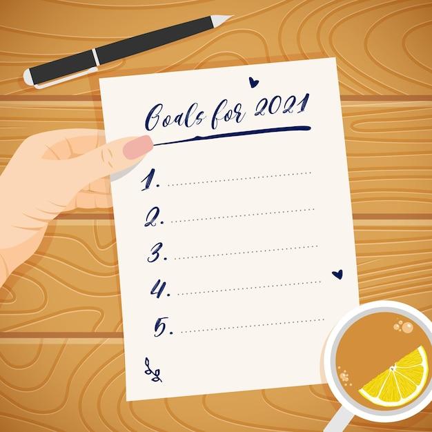 Concetto di obiettivi del nuovo anno 2021. elenco vuoto di risoluzione dei piani in mano della donna. lista di cose da fare. Vettore Premium
