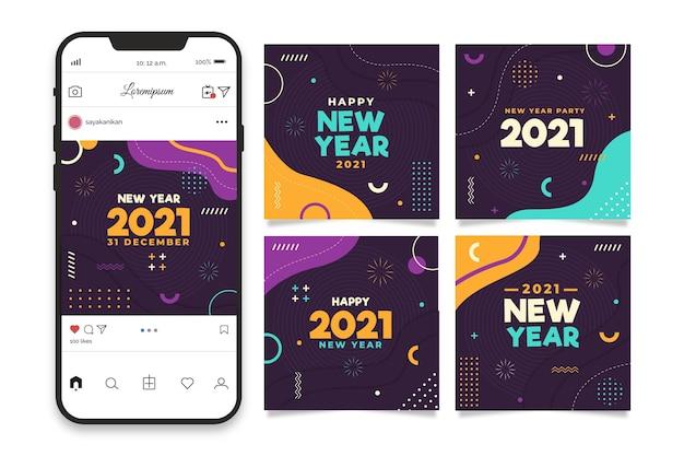 Raccolta di post instagram festa di capodanno 2021 Vettore Premium