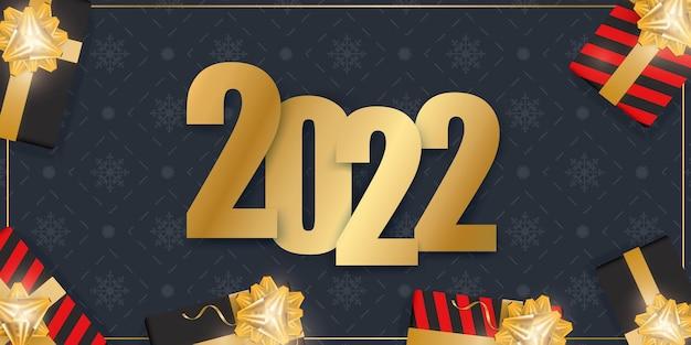 Banner blu scuro di nuovo anno. sfondo con scatole regalo realistiche, nastri d'oro e fiocco. Vettore Premium
