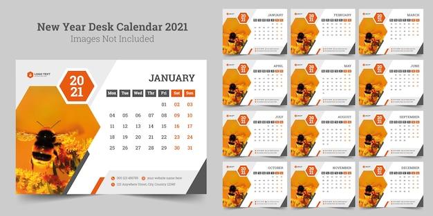 Modello di calendario da tavolo del nuovo anno Vettore Premium
