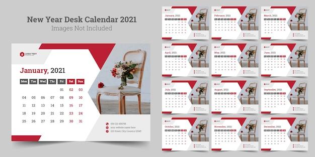 Calendario da tavolo del nuovo anno Vettore Premium