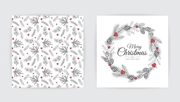 Disegno della cartolina d'auguri di nuovo anno con l'albero di natale. Vettore Premium