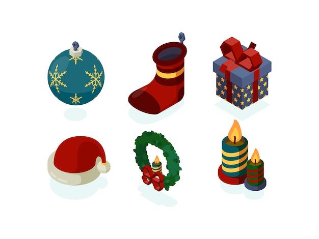 Icone del nuovo anno. accessori natalizi regali albero lanterna neve globo noel santa set isometrico Vettore Premium