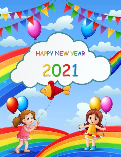 Anno nuovo poster design con i bambini sull'arcobaleno Vettore Premium